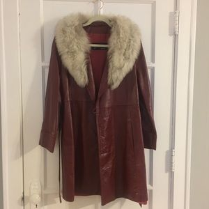 1970's Red Leather and Genuine Fur Coat